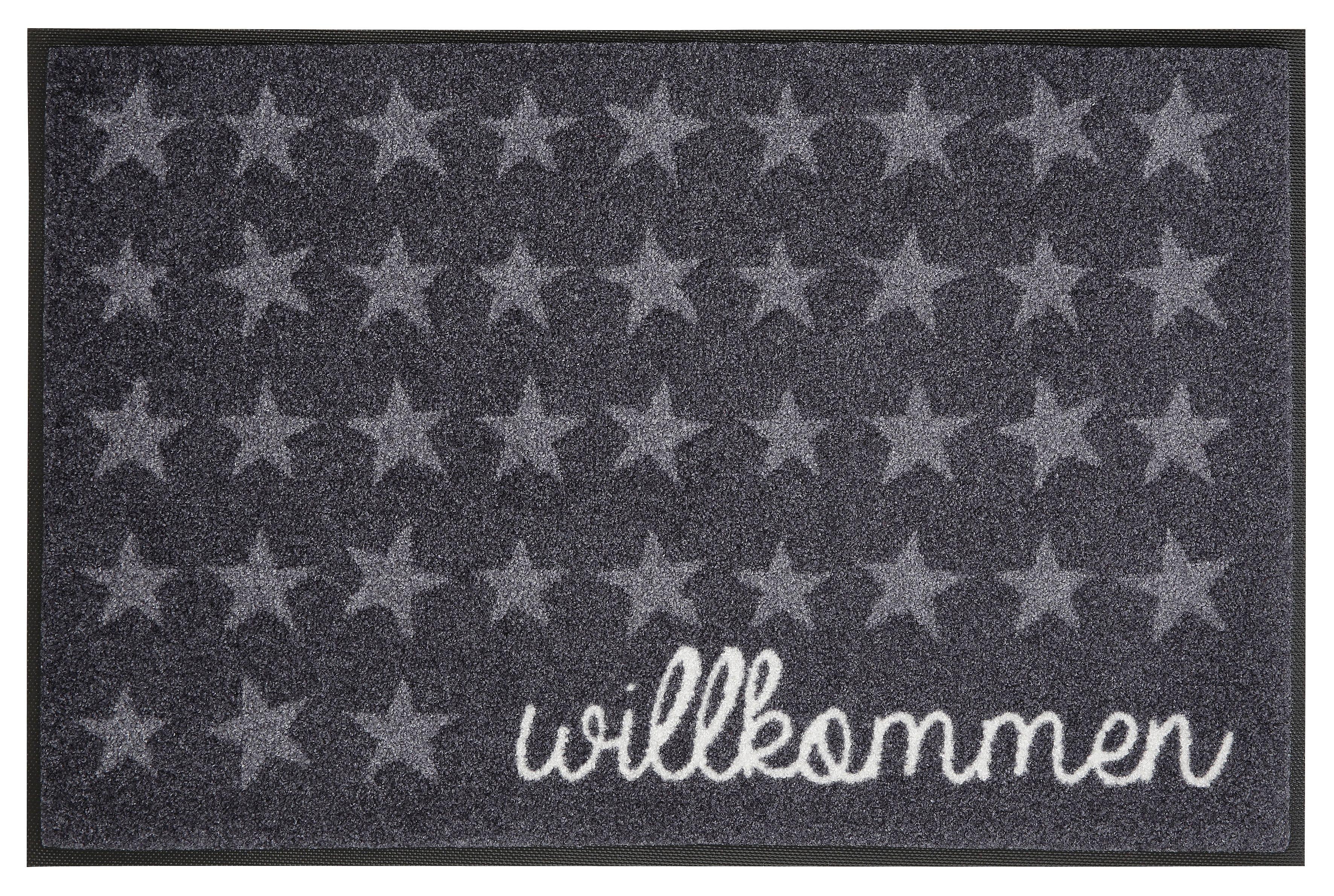 Fußmatte »Willkommen Sterne«, wash+dry by Kleen-Tex, rechteckig, Höhe 7 mm