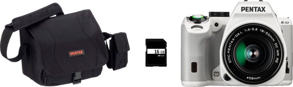 Pentax K-S2 Kit Spiegelreflex Kamera, Zoom, inkl. Tasche, 16 GB, 20,1 Megapixel in weiß