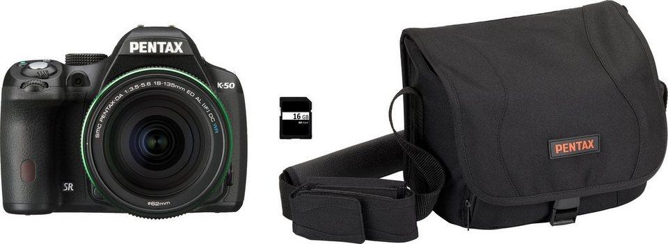 Pentax K-50 Spiegelreflex Kamera, PENTAX-DA 18-135 AL [IF] DC WR F3,5-5,6 ED Zoom, inkl. Tasche in schwarz