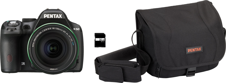 Pentax K-50 Spiegelreflex Kamera, PENTAX-DA 18-135 AL [IF] DC WR F3,5-5,6 ED Zoom, inkl. Tasche