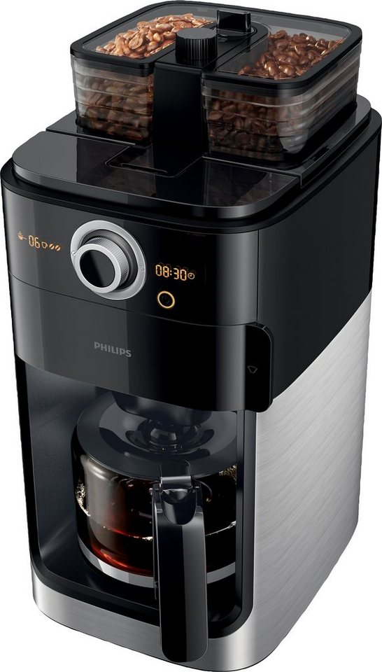 philips kaffeemaschine mit mahlwerk hd7766 00 grind brew 1 2l kaffeekanne papierfilter 1x4. Black Bedroom Furniture Sets. Home Design Ideas
