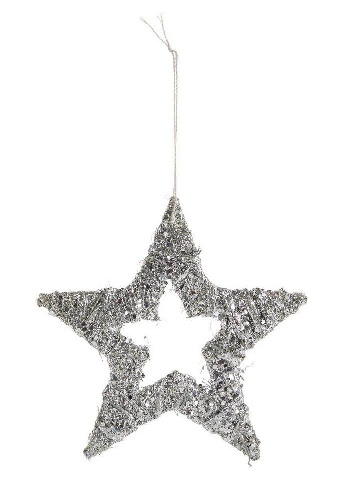 Glitter-Stern in silberfarben beglittert