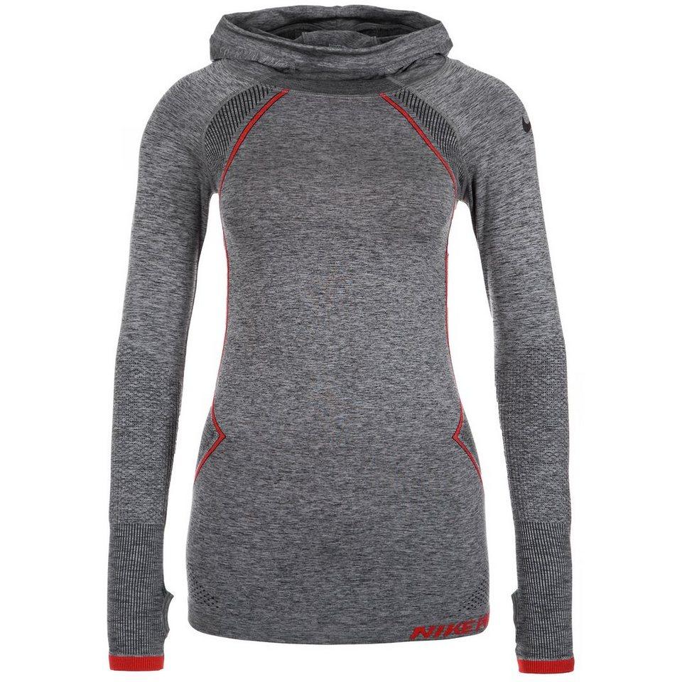 NIKE Pro Hyperwarm Limitless Funktionsshirt Damen in grau / rot / schwarz