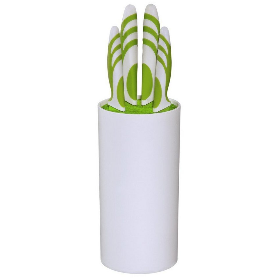 Xavax Küchenmesser-Set, 4-tlg., mit Messerblock, Grün/Weiß in Coloured
