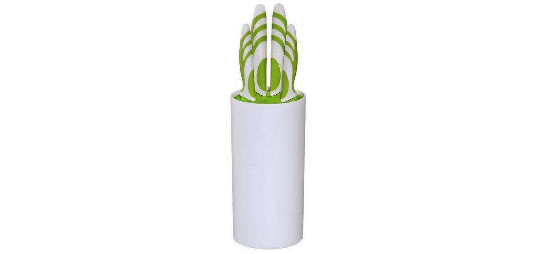 Xavax Küchenmesser-Set, 4-tlg., mit Messerblock, Grün/Weiß