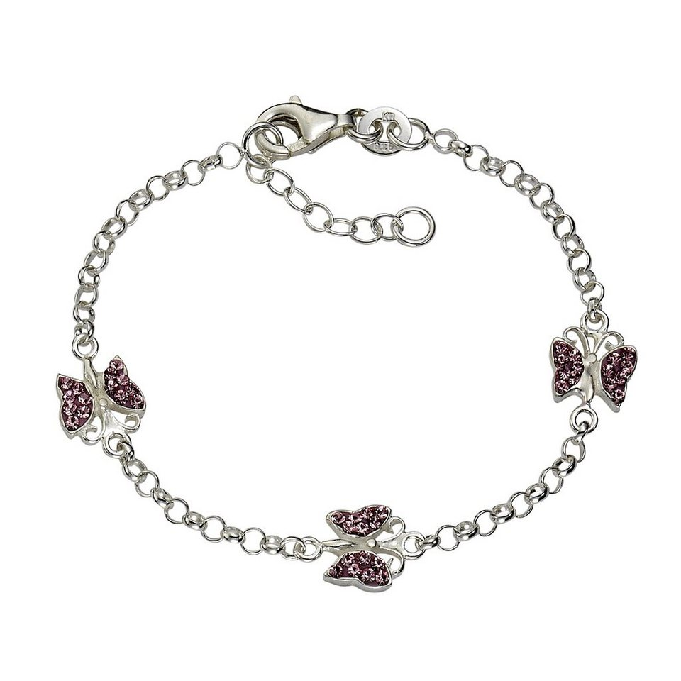 Zeeme Armband »925/- Sterling Silber Kristall pink« in weiß