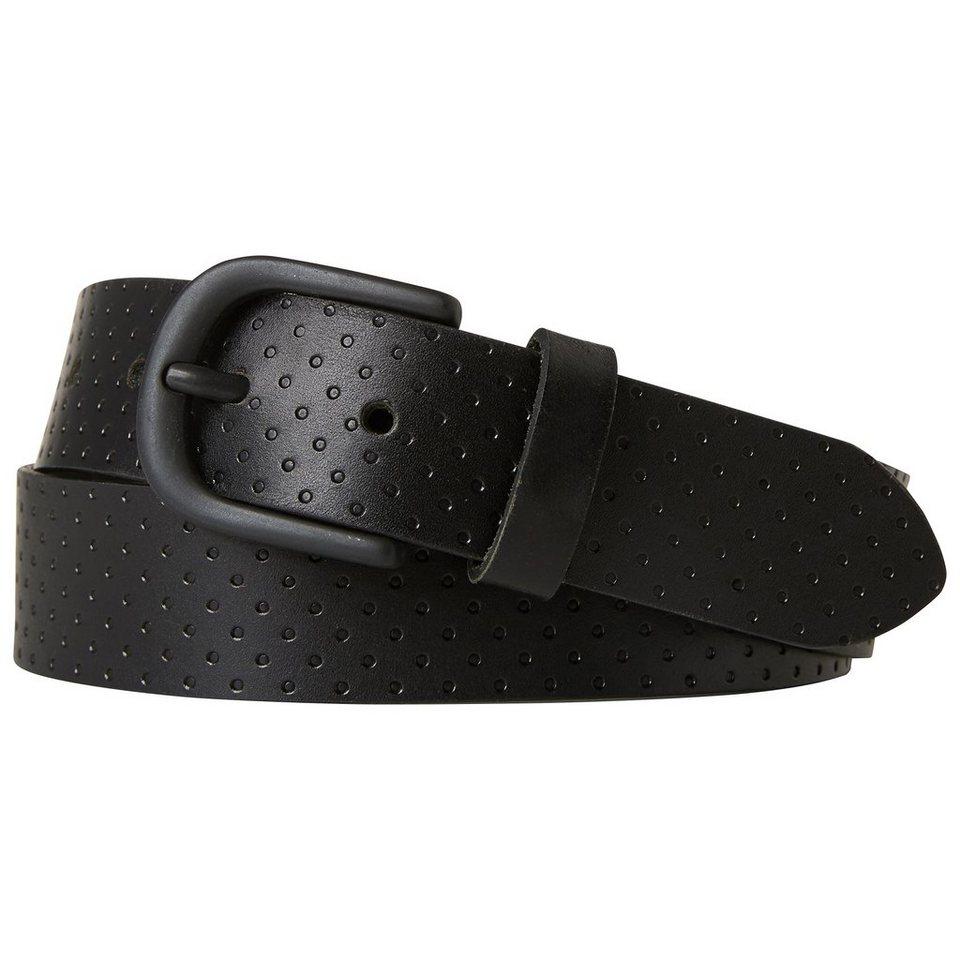 TOM TAILOR DENIM Gürtel »Leder-Gürtel mit geprägter Oberfläche« in black