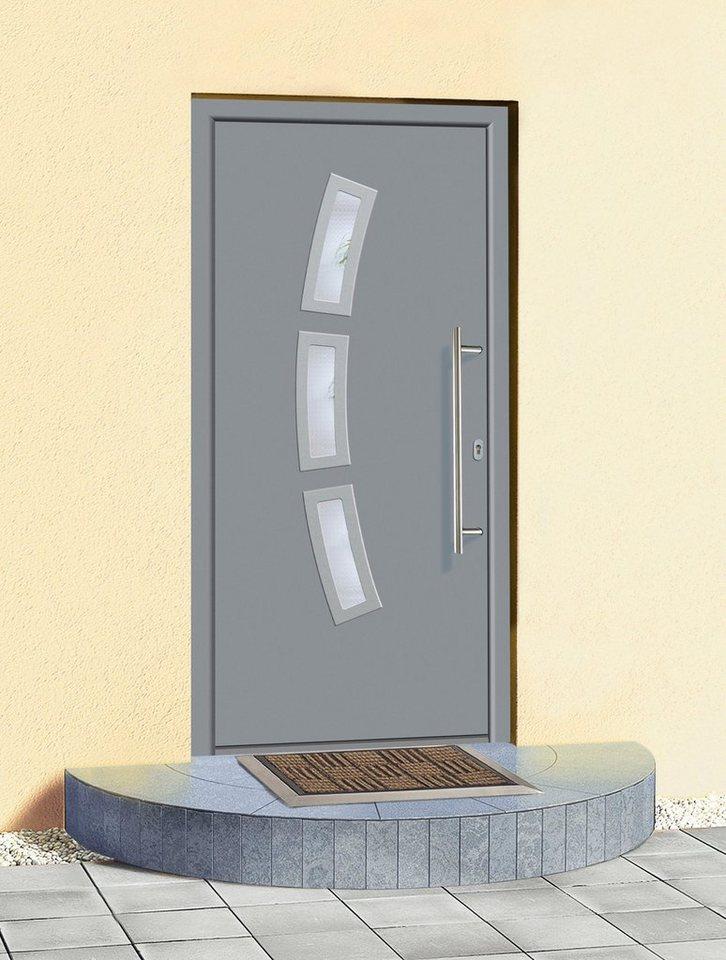 Aluminium-Haustür »A07« Festmaß BxH: 98 x 208 cm, grau in grau