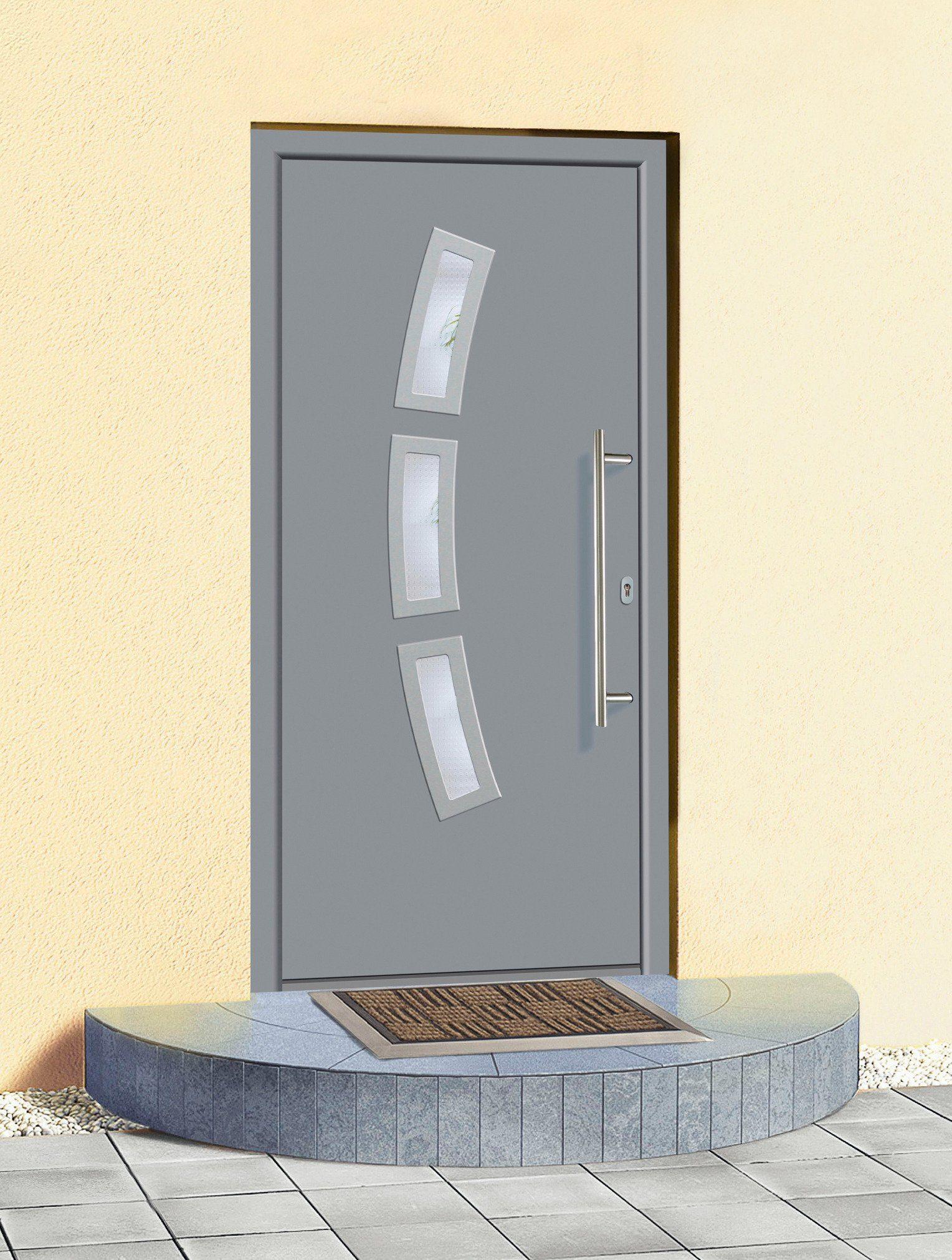 KM MEETH ZAUN GMBH Aluminium-Haustür »A07«, BxH: 98x208 cm, grau, in 2 Varianten