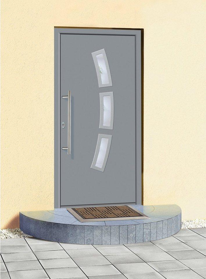 Aluminium-Haustür »A07« Festmaß BxH: 108 x 208 cm,grau in grau