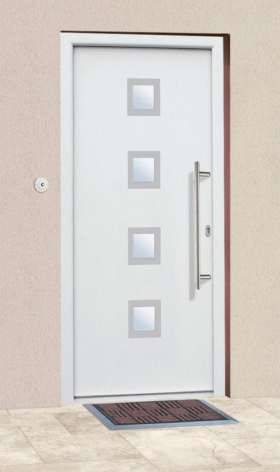 Aluminium-Haustür »A05« Festmaß BxH: 98 x 208 cm, weiß in weiß