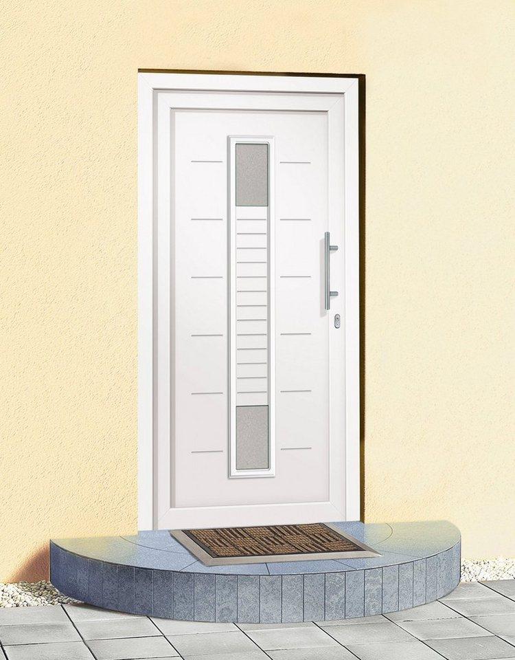 Kunststoff-Haustür »A906« BxH: 100 x 210 cm, weiß in weiß