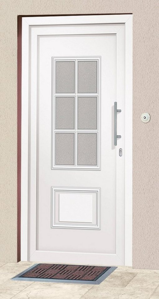 Kunststoff-Haustür »Estland« BxH: 110 x 210 cm, weiß in weiß