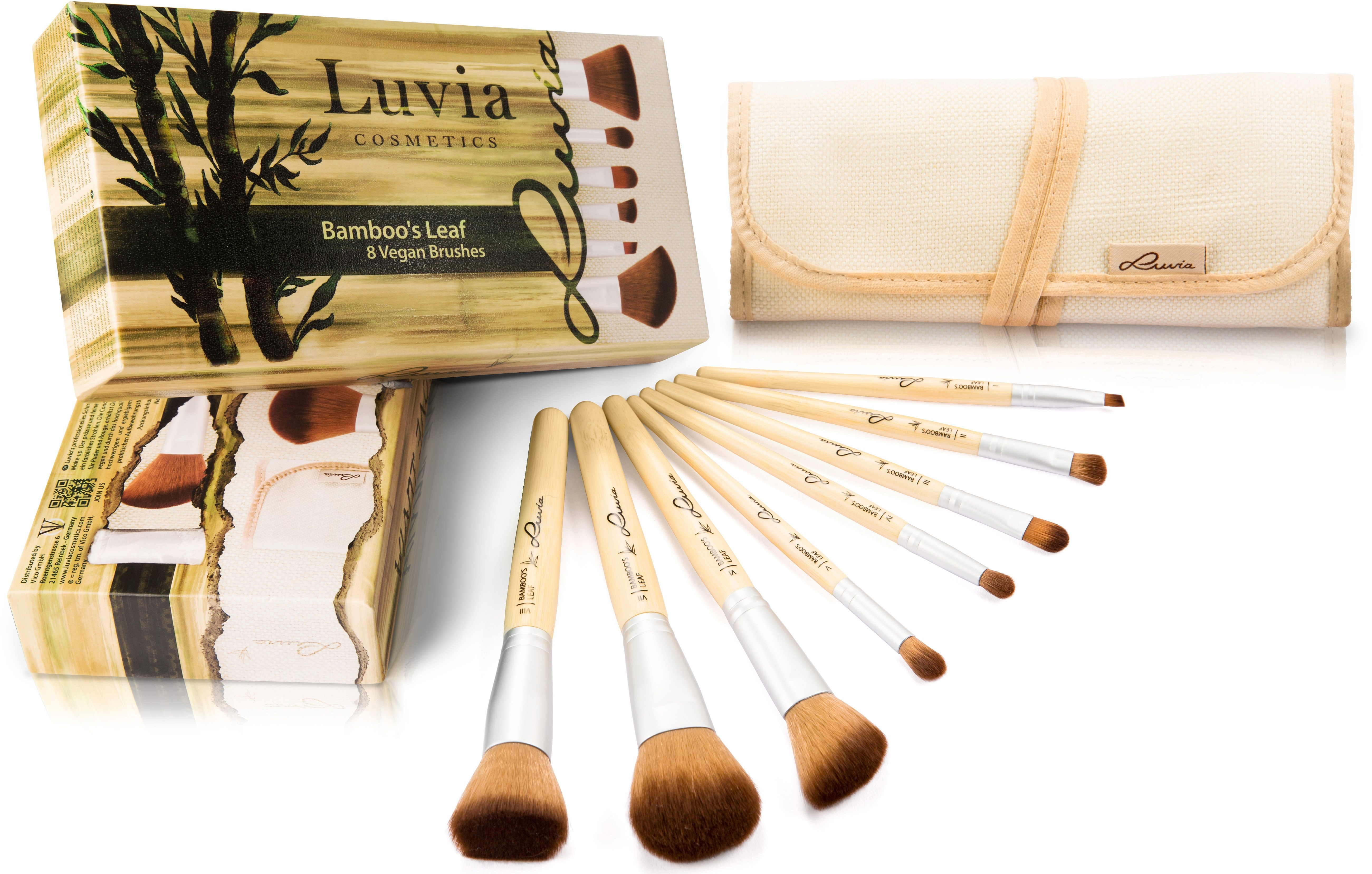 Luvia Cosmetics, »Bamboo's Leaf«, Veganes Kosmetikpinsel-Set mit 8 Pinseln und Aufbewahrungstasche