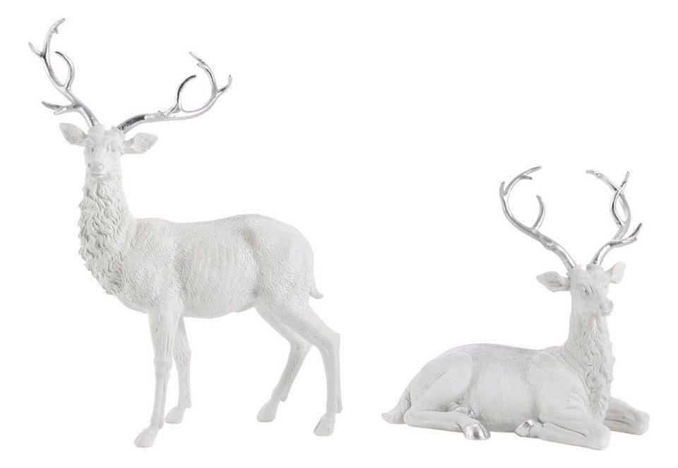 Hirsch - Figuren in weiß-silber