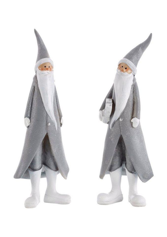 Figuren-Set, »Santa« (2er Set) in grau-weiß