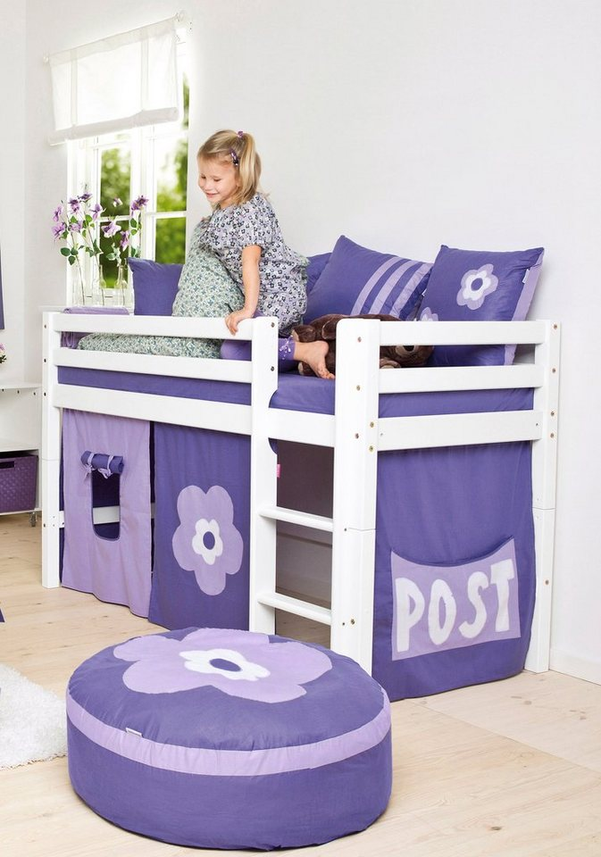 halbhohes bett hoppekids purple flower kaufen otto. Black Bedroom Furniture Sets. Home Design Ideas