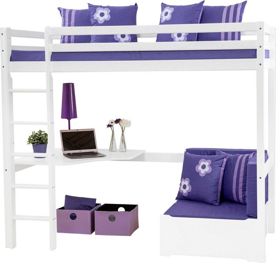 Hochbett, Hoppekids, »Purple Flower« in weiß