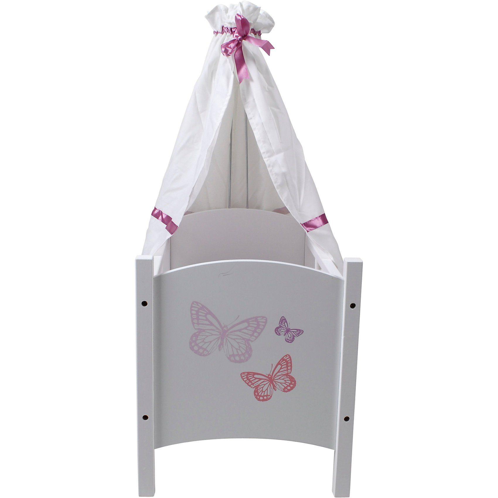 KNORRTOYS.COM Exklusiv Puppenbett mit Himmel, Schmetterling weiß