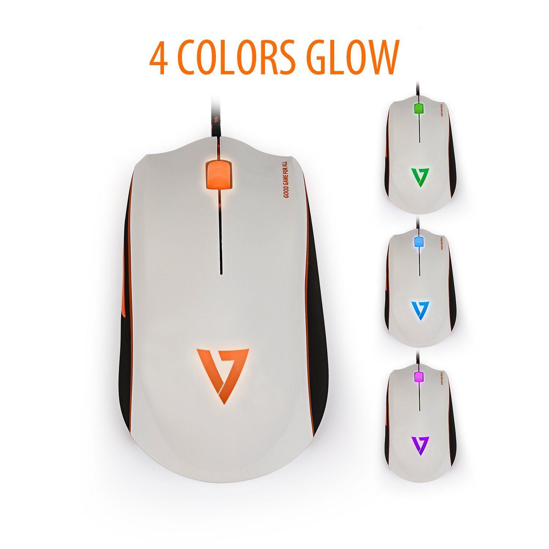 V7 Gaming-Maus »+ 4000 GAMING Maus Weiß / Orange«