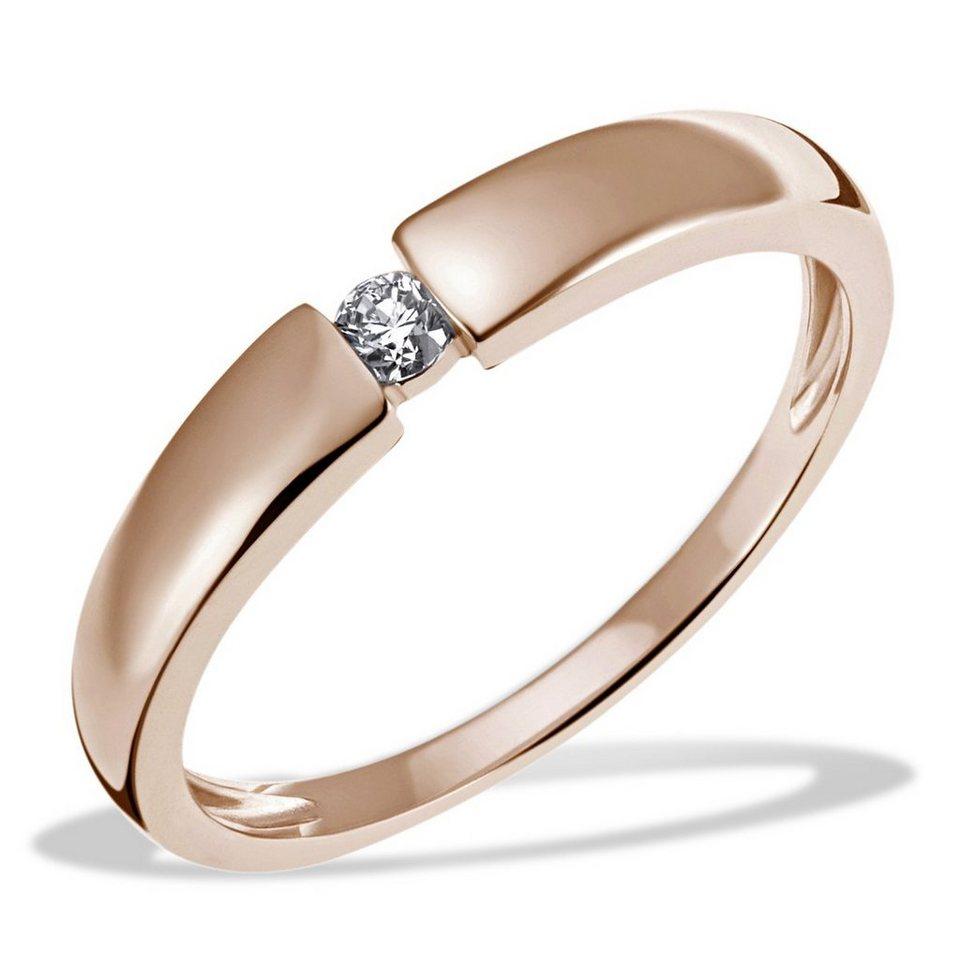 goldmaid Damenring Verlobung Solitär 585/- Rotgold 1 Diamant 0,10 ct. SI/ in Roségoldfarben