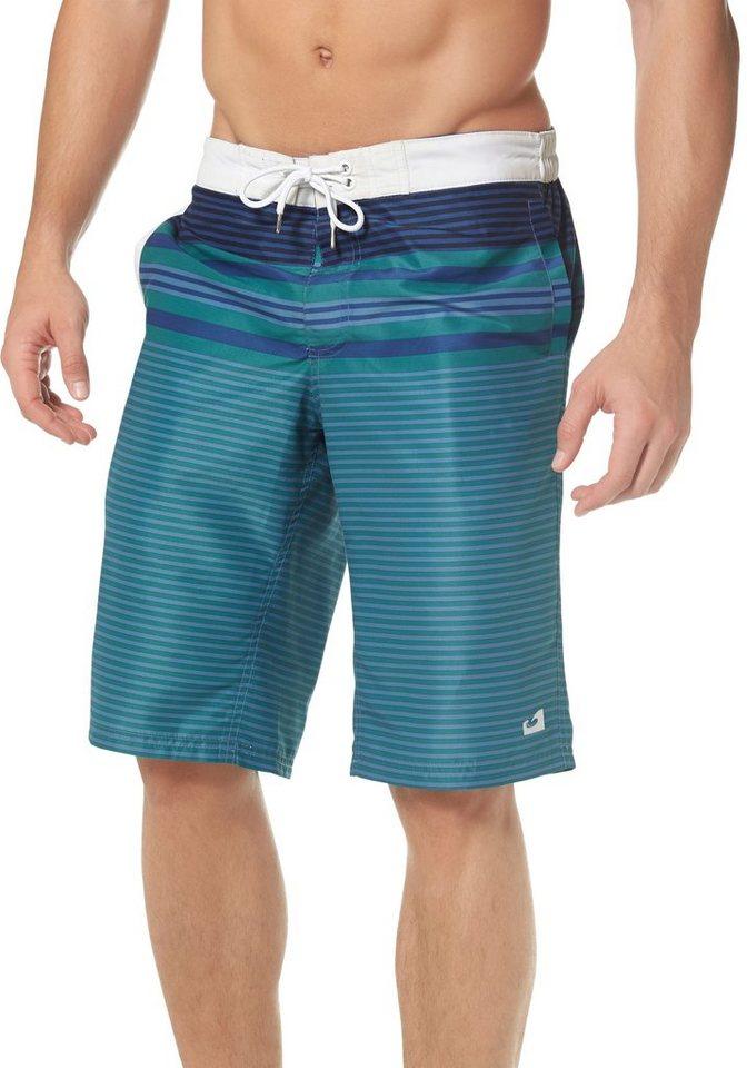 Ocean Sportswear Boardshorts Teilelastischer Bund in blau-bedruckt