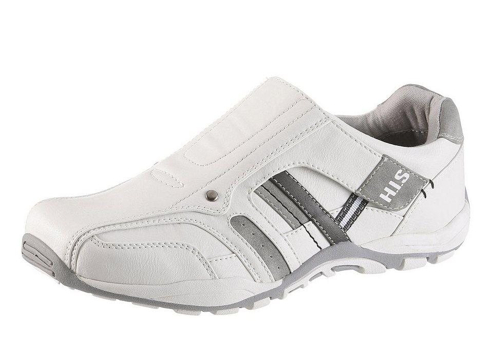 H.I.S Slipper mit Klettverschluss in weiß-grau