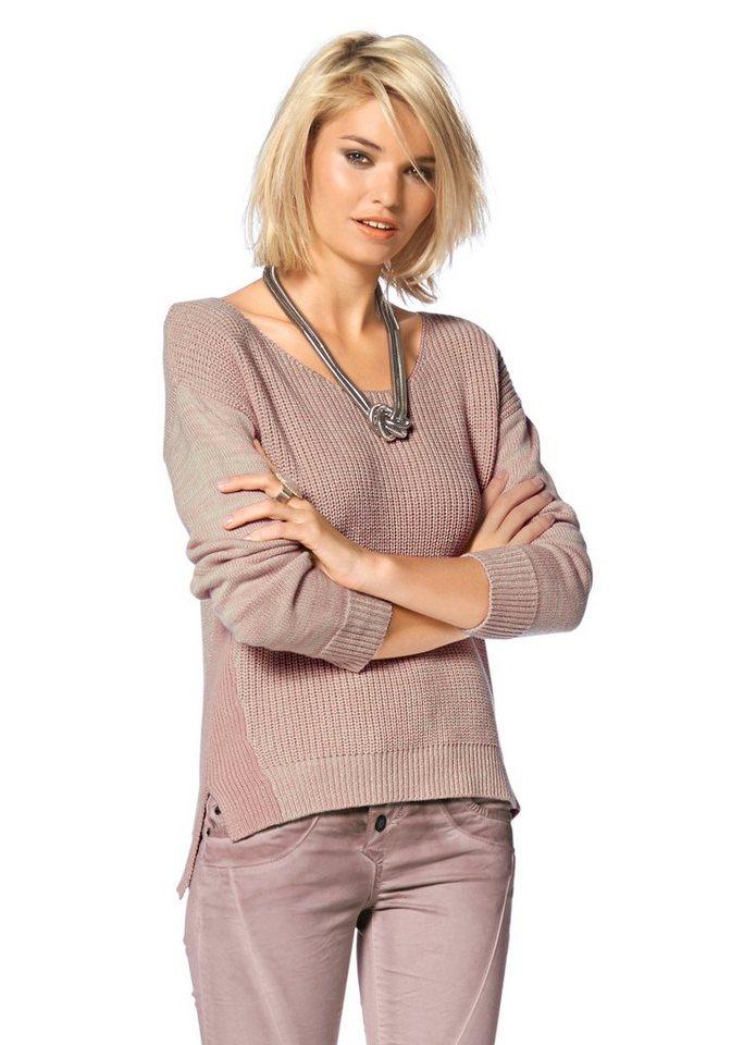 Laura Scott Rundhalspullover mit kontrastfarbigen Einsätzen in rosé
