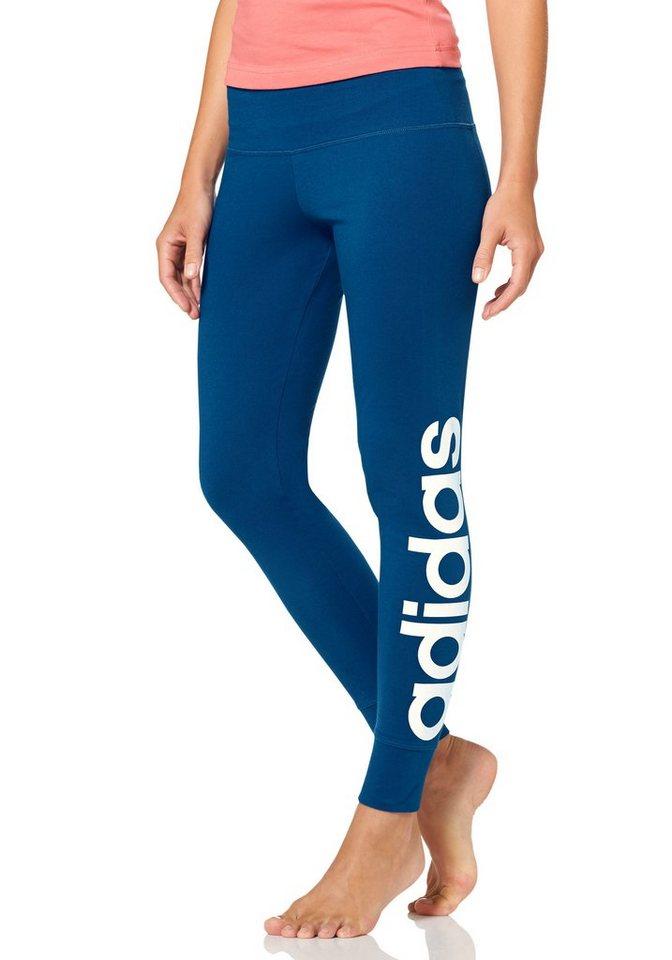 adidas Performance ESSENTIALS LINEAR TIGHT Leggings in Blau-Weiß