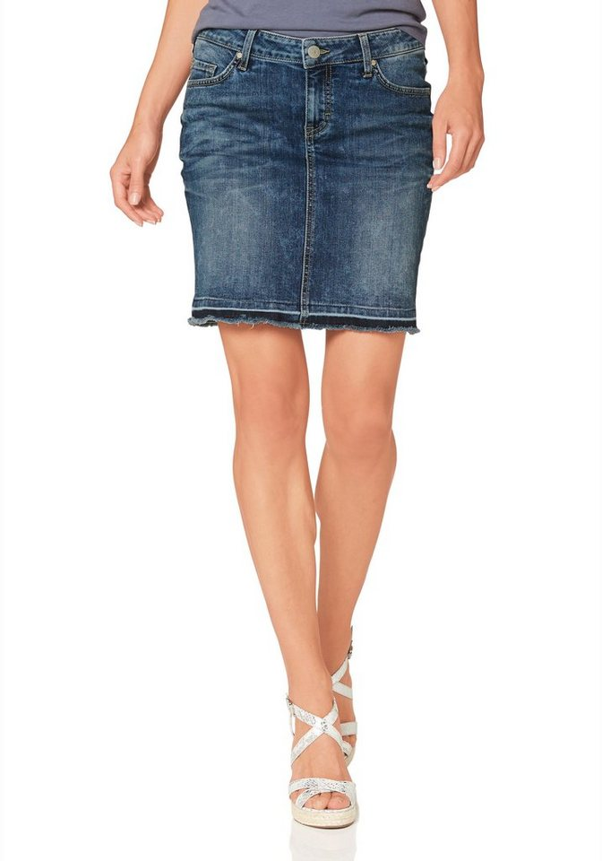 Mustang Jeansrock »Laura« mit Fransenabschluss in bleached-authentic-blue