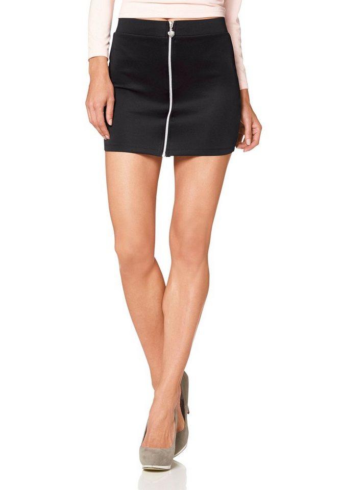Melrose Minirock mit auffälligem Zipper in schwarz