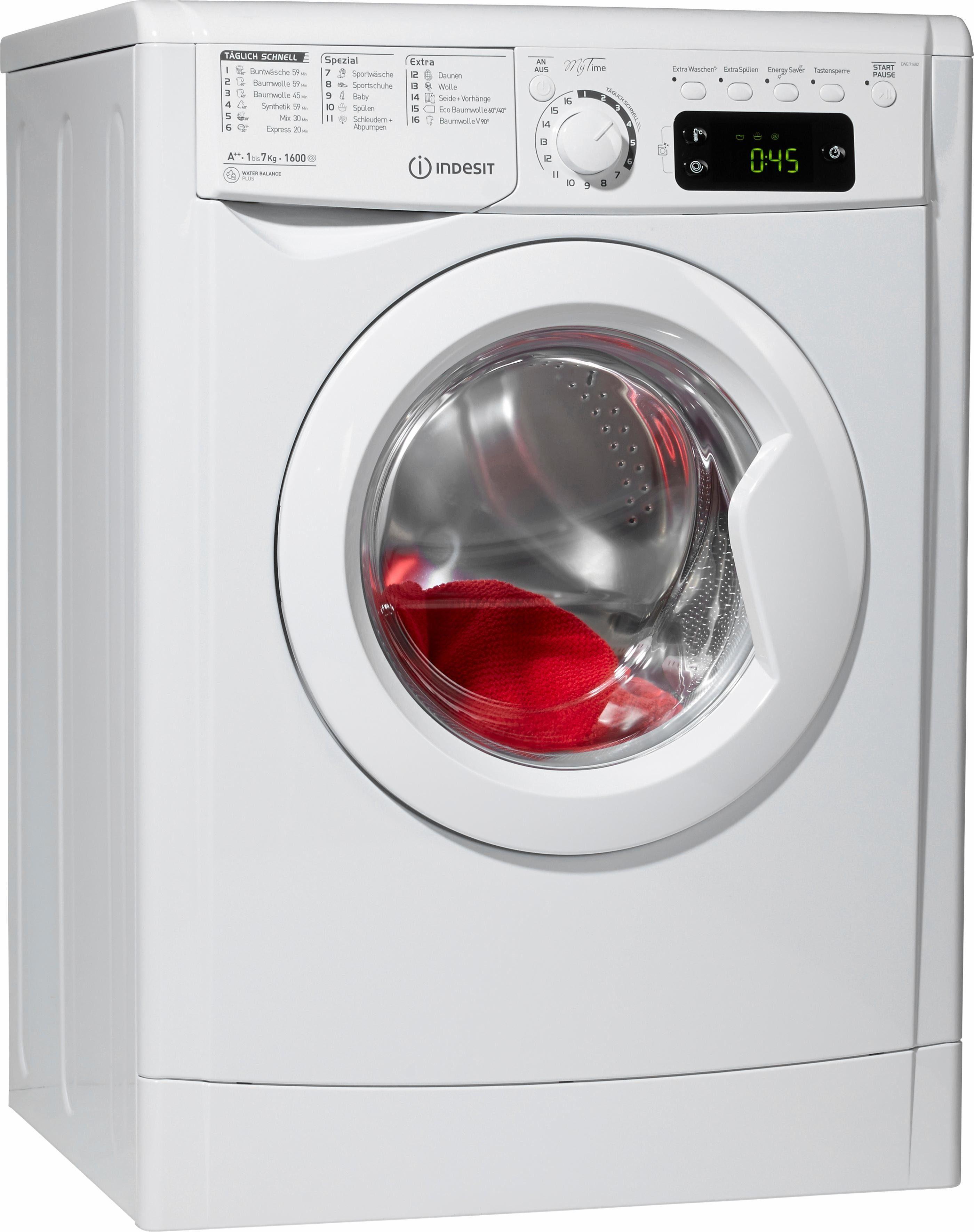Indesit Waschmaschine EWE 71682 W DE, A++, 7 kg, 1600 U/Min
