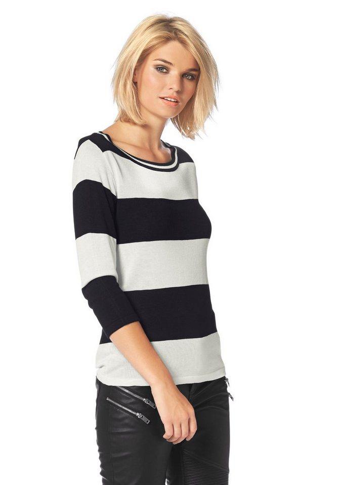 Laura Scott Rundhalspullover mit 3/4 langen Ärmeln in schwarz-gestreift