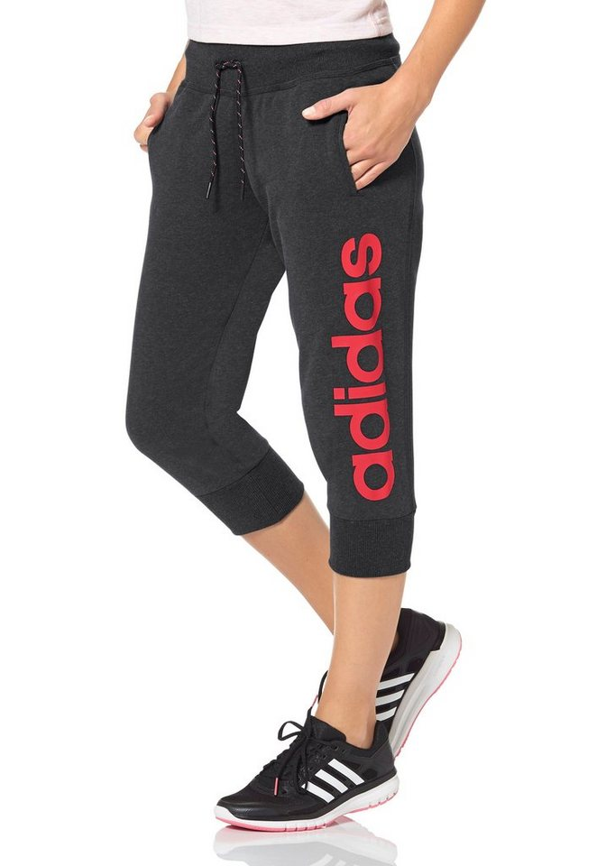 adidas Performance ESSENTIALS LINEAR 3/4 PANTS 3/4-Sweathose in Anthrazit-Pink
