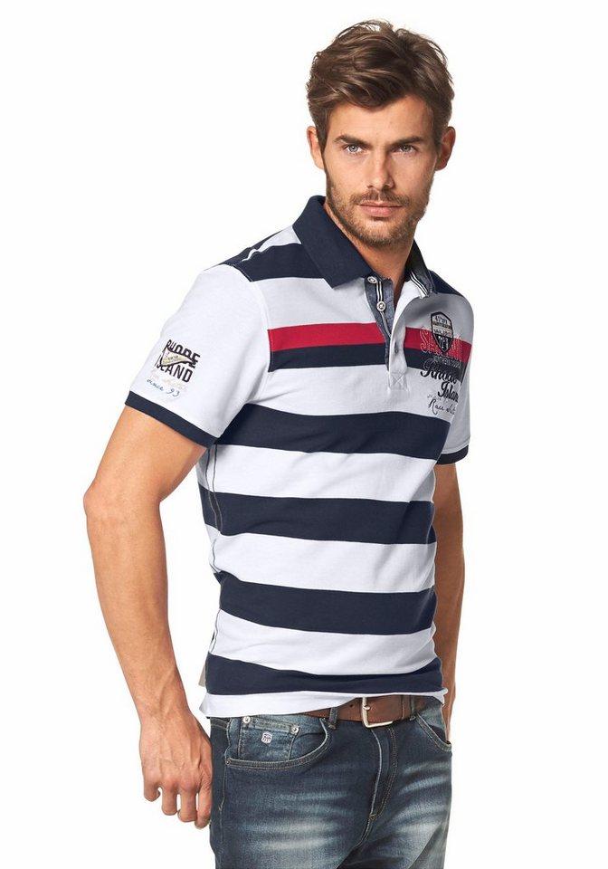 Rhode Island Poloshirt »Piqué Qualität« in marine-weiß-rot-gestreift