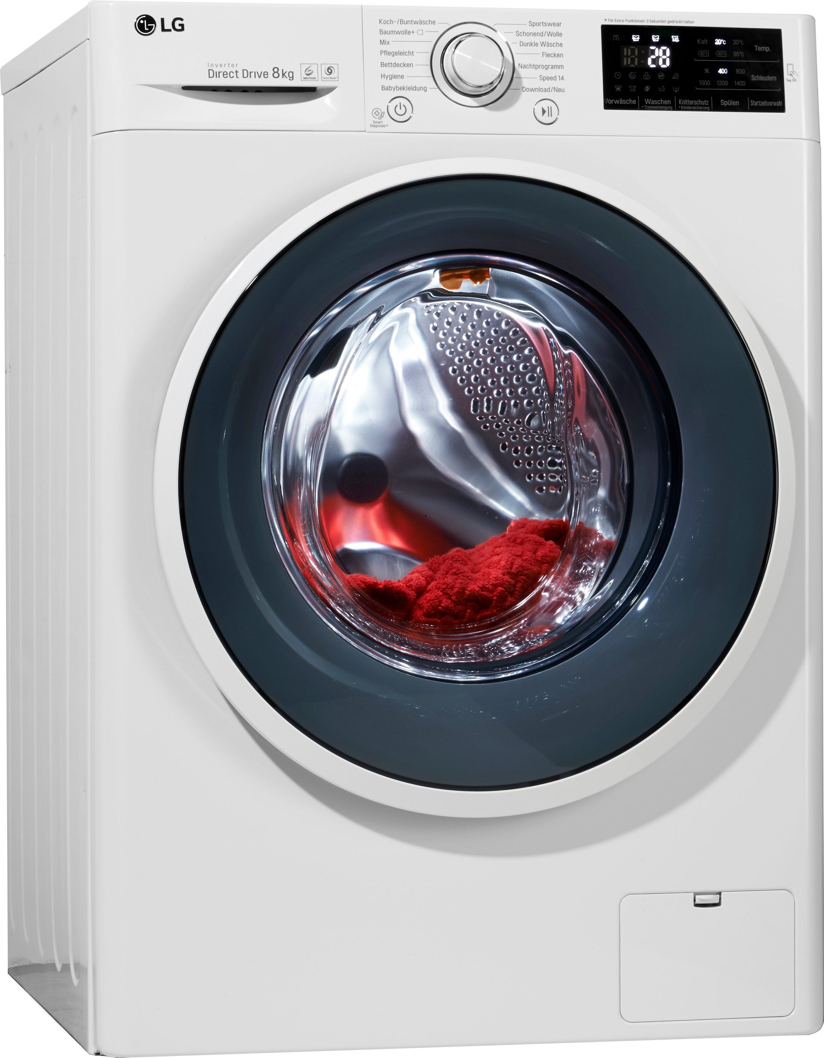 LG Waschmaschine F 14U2 TDN0H, A+++, 8 kg, 1400 U/Min