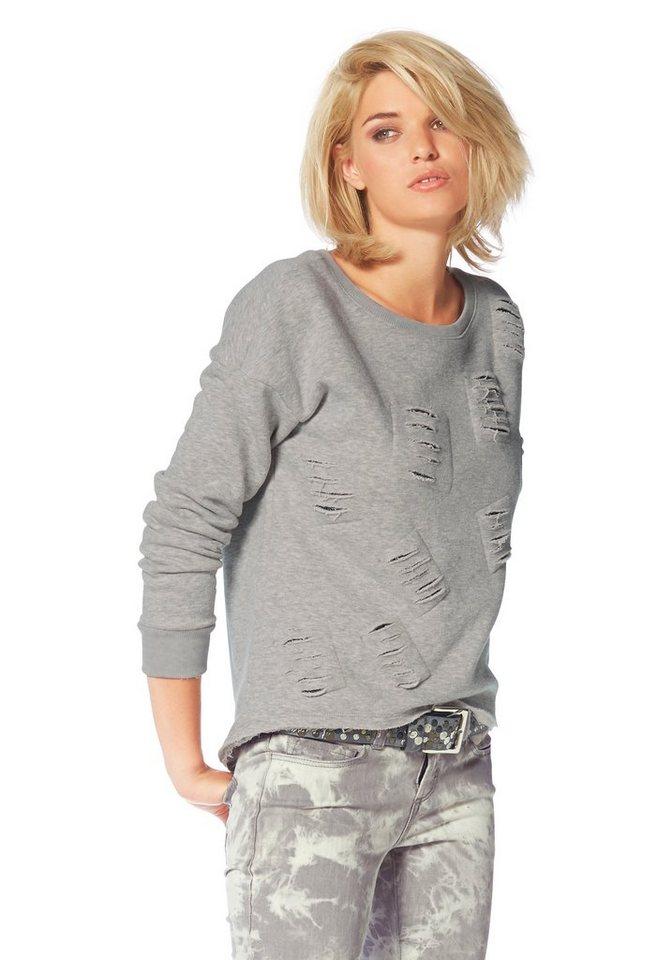 Laura Scott Sweatshirt mit Nieten unterlegten Destroyed-Effekten in grau-meliert