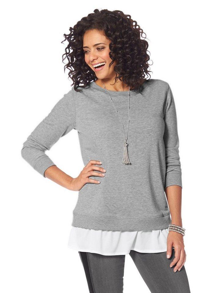 Boysen's Sweatshirt Lagenoptik mit Bluseneinsatz in grau-meliert