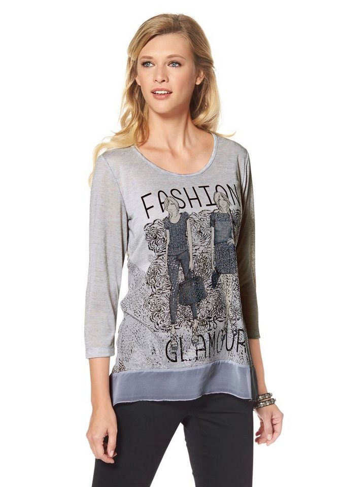 Tamaris 3/4-Arm-Shirt in grau-weiß-silberfarben-schwarz-bedruckt+bedruckt