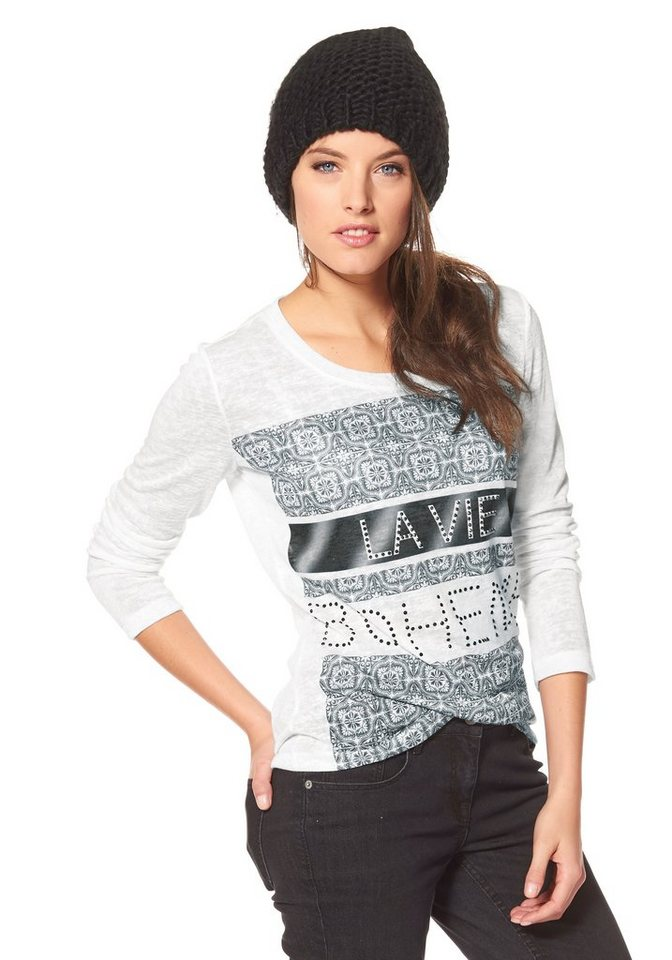 Aniston Rundhalspullover mit Steinchenverzierung in weiß-grau