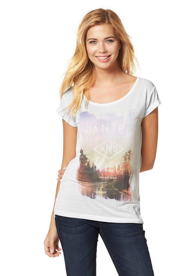 Hilfiger Denim T-Shirt »Inoa« Aufwendiger Frontprint in wollweiß