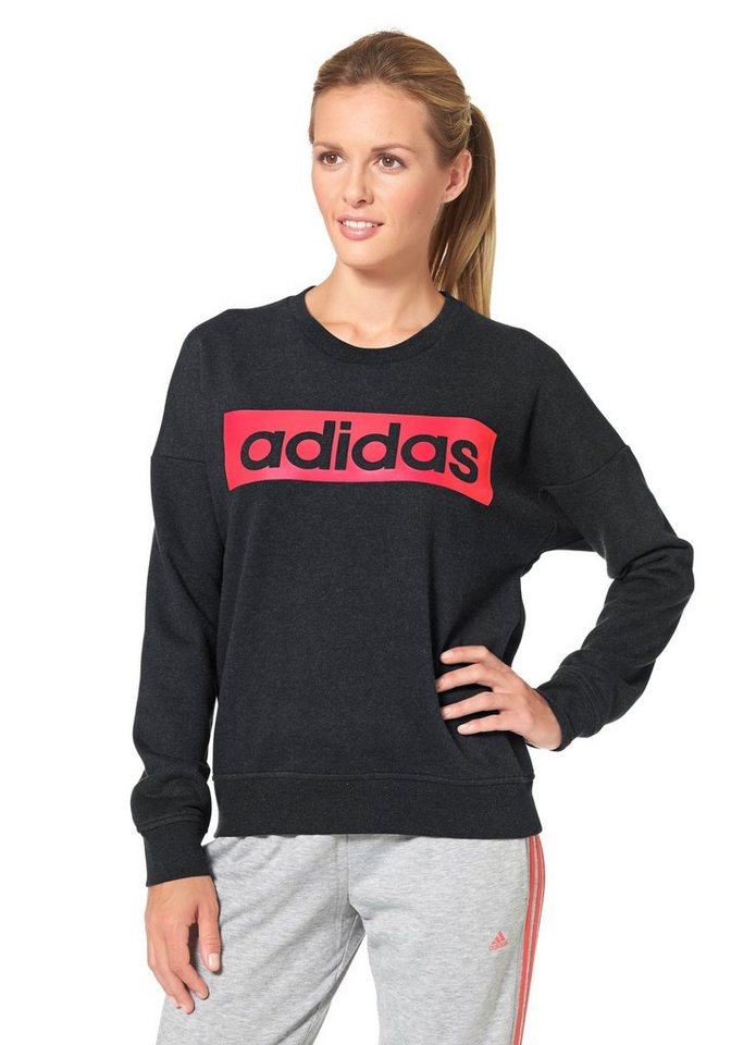 adidas Performance ESSENTIALS LINEAR SWEATSHIRT Sweatshirt in Anthrazit-Pink