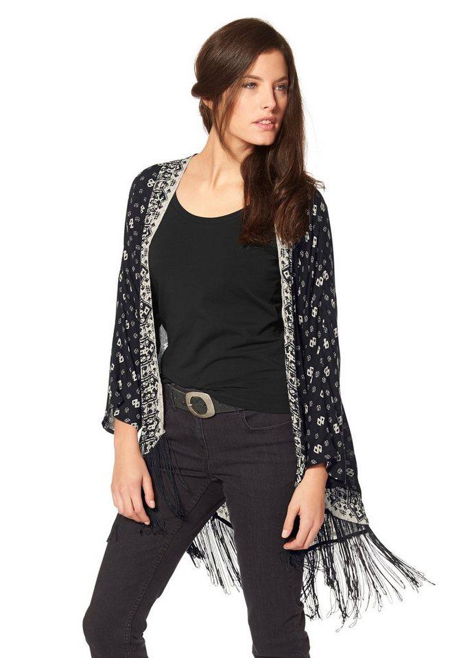 Aniston Longbluse im Vokuhila-Style mit Fransen in schwarz-weiß