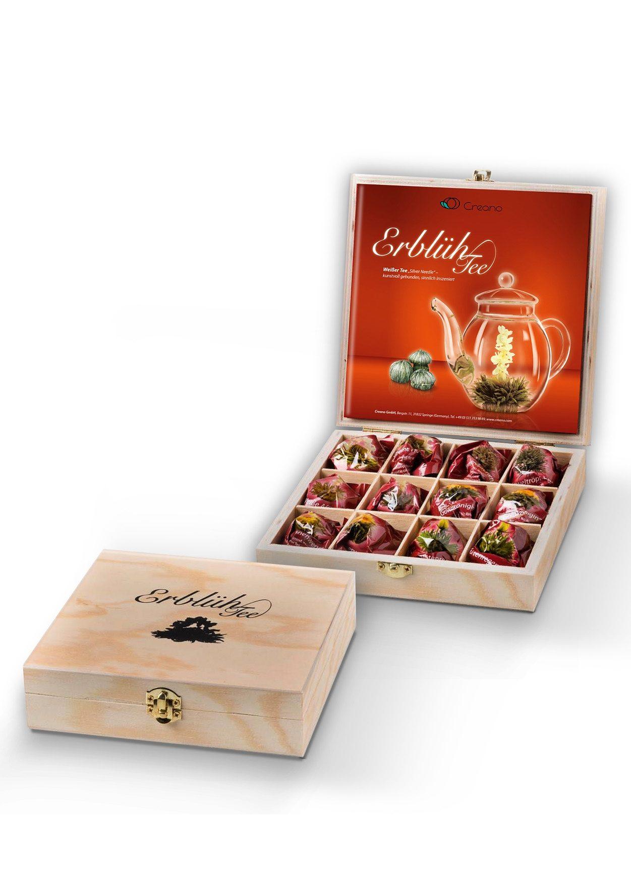 Creano ErblühTee Holz-Präsentbox, »Weißer Tee«