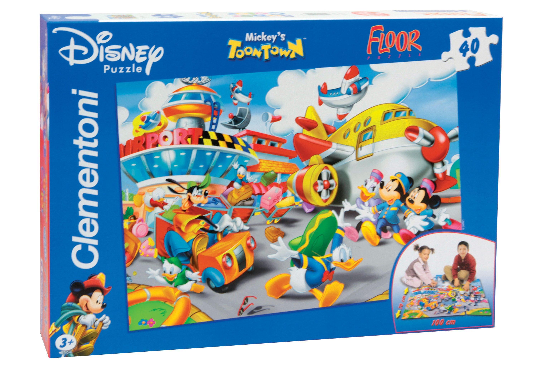 Clementoni Bodenpuzzle, 40 Teile, »Disney, Mickey's Toon Town, Der Flughafen«