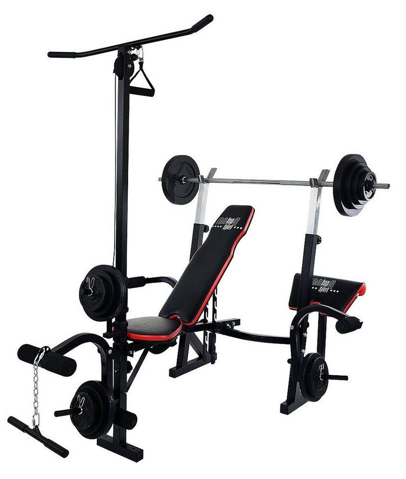 Christopeit Sport® Hantelbank, inkl. 25 kg Gewichtsset & Langhantelstange, »Power XL« in schwarz-rot