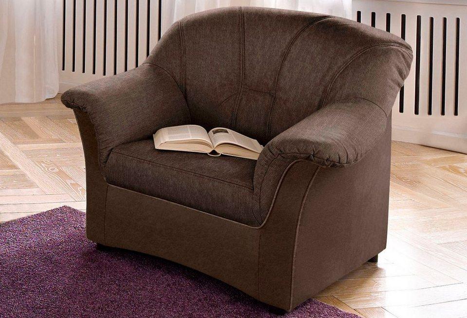 Sessel, wahlweise mit Federkern in braun/dunkelbraun