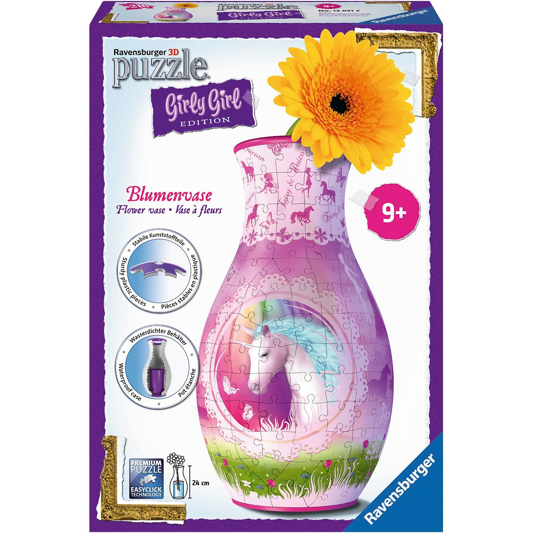 Ravensburger 3-D Puzzle Girly Girl Edition Blumenvase Einhörner