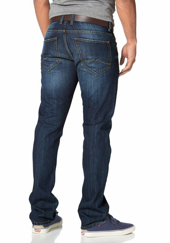 Mustang Straight-Jeans »Chicago« in dark-blue-rinsed