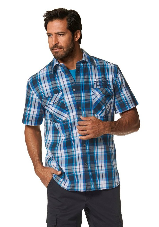 Man's World Kurzarmhemd in blau-türkis-kariert